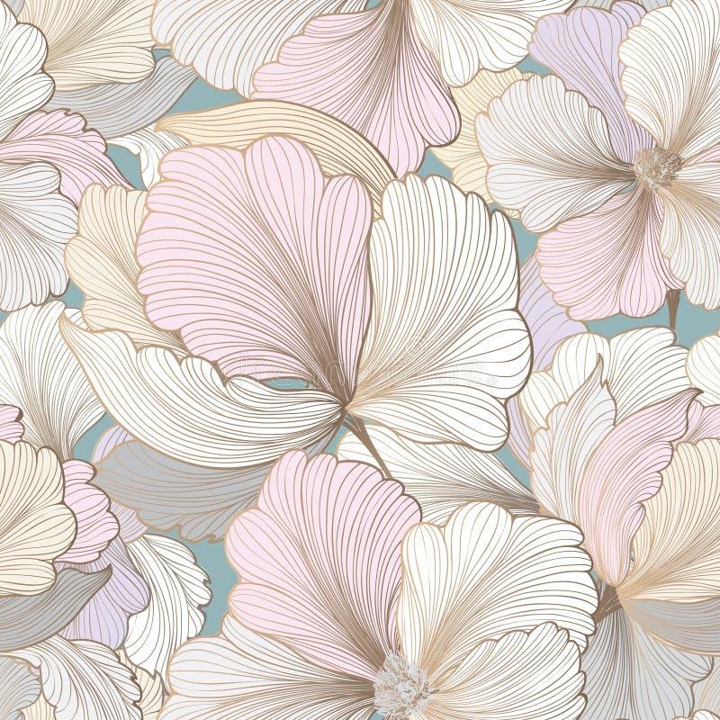 bezszwowy kwiecisty wzoru kwiat światła playnig tło Zawijasa ogrodowy tekst royalty ilustracja