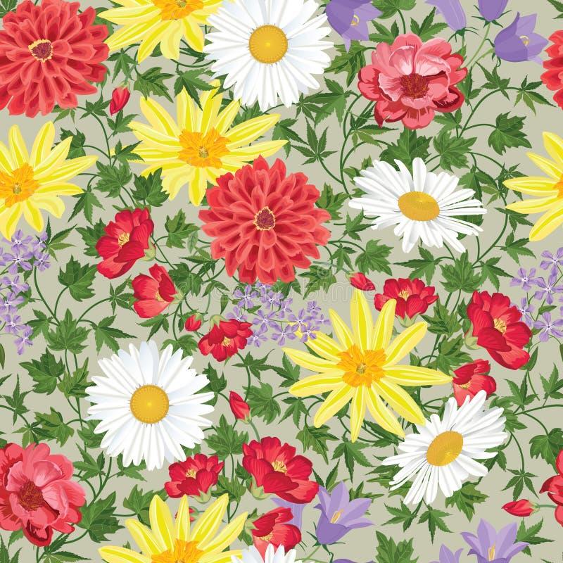 bezszwowy kwiecisty wzoru kwiat światła playnig tło Zawijasa tło ilustracja wektor