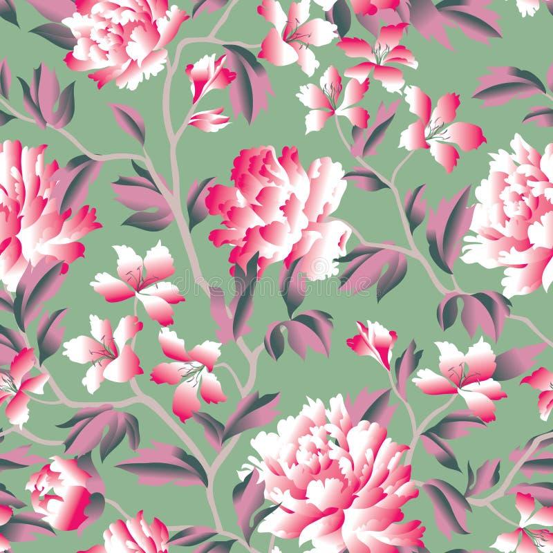 bezszwowy kwiecisty wzoru Kwiatu różany chiński tło Flouris royalty ilustracja