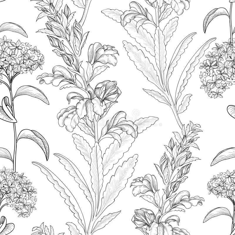 bezszwowy kwiecisty wzoru Kwiatu rabatowy tło Kwiecista płytka s ilustracja wektor