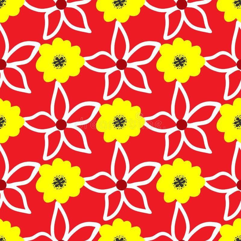 bezszwowy kwiecisty wzoru Kwiaty rysujący ręką nakreślenie royalty ilustracja