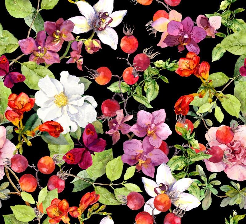 bezszwowy kwiecisty wzoru Lato liście, kwiaty starożytny ciemności tła papieru akwareli żółty obrazy royalty free