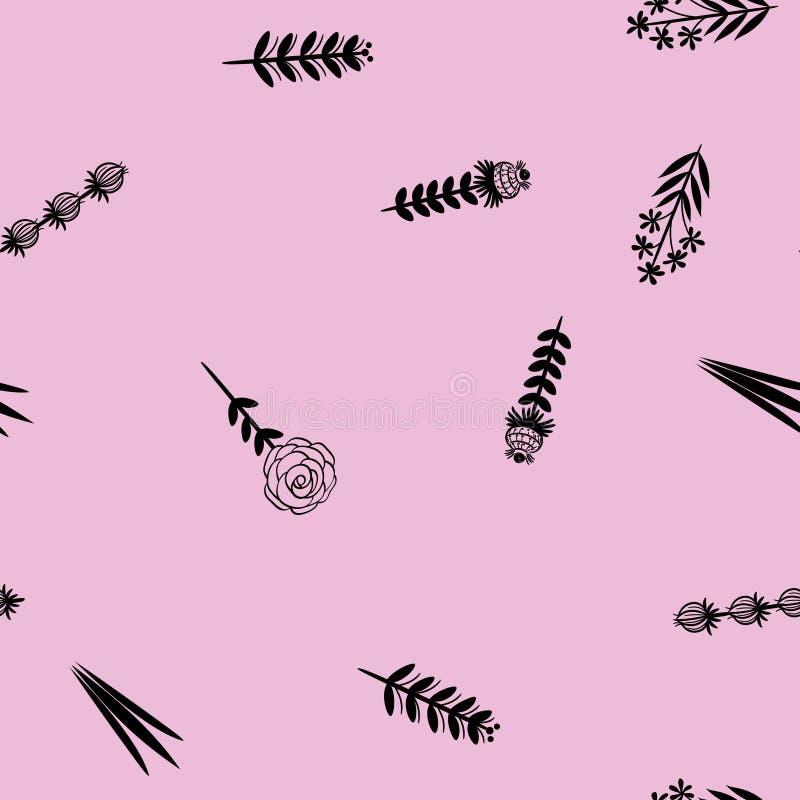 bezszwowy kwiecisty wzoru Kwiecisty minimalistic ornament ilustracja wektor