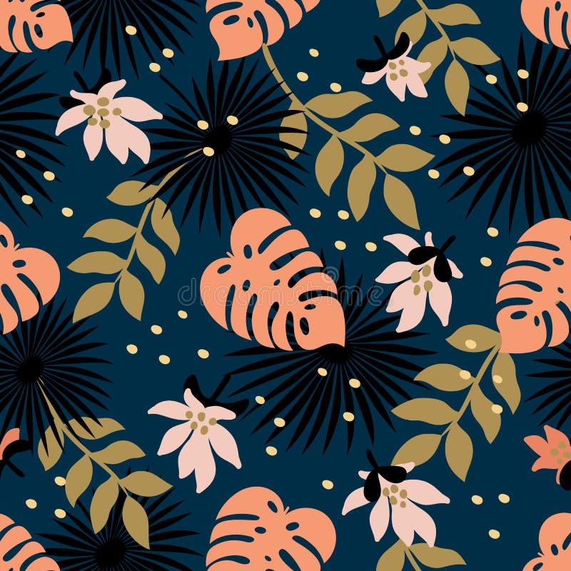 bezszwowy kwiecisty wzoru Mody tkaniny wzór z dekoracyjnymi tropikalnymi liśćmi i kwiatami na zmroku - błękitny tło ilustracji