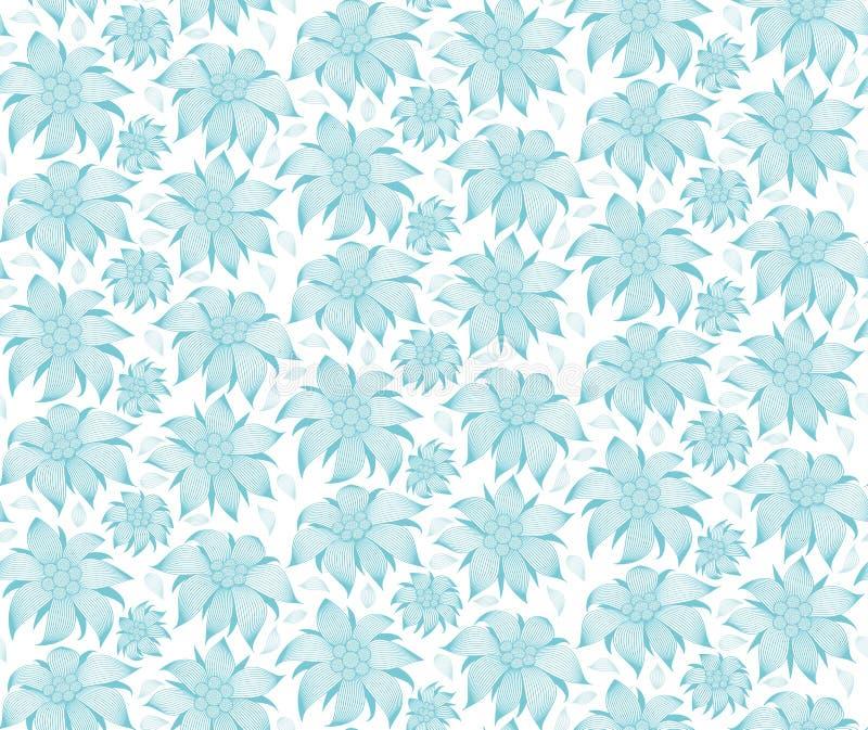 bezszwowy kwiecisty wzoru Na białym tle błękitni kwiaty szarotka, wodna leluja, lotos Dla kartka z pozdrowieniami, zaproszenia ilustracja wektor