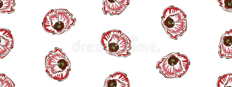 bezszwowy kwiecisty wzoru Piękni i duzi makowi kwiaty na bielu Abstrakcjonistyczna ręka rysujący wektorowy tło ilustracji