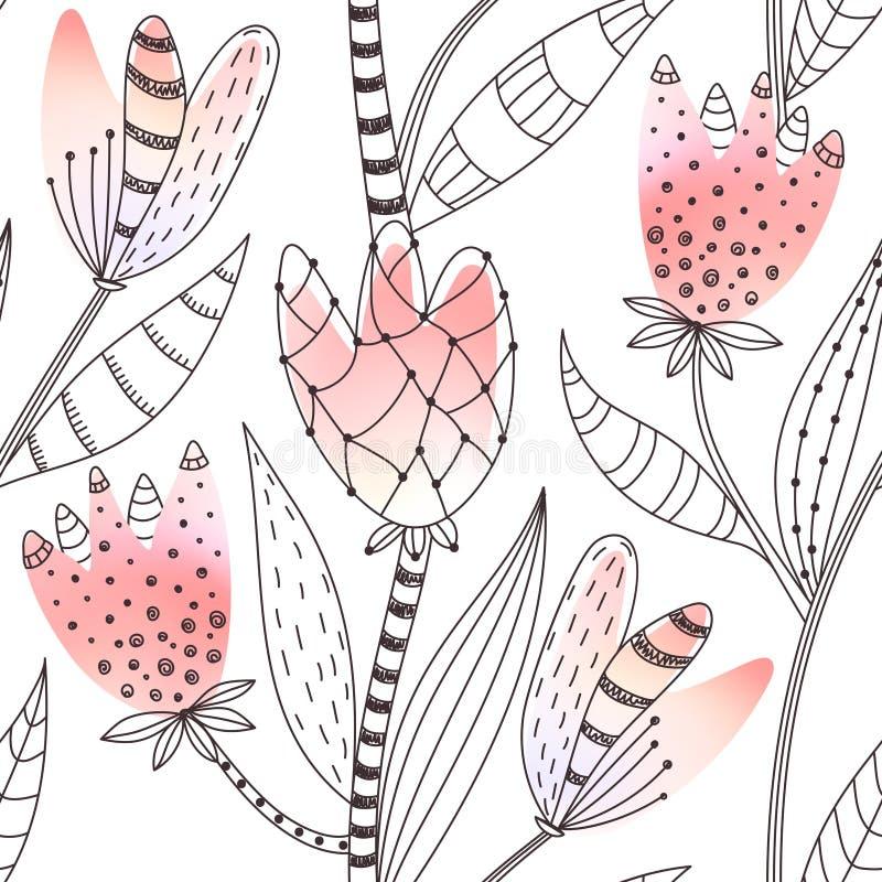 bezszwowy kwiecisty wzoru Ręka rysujący abstrakcjonistyczny gradient kwitnie z doodle dekoracją Kolorowy artystyczny projekt ilustracja wektor