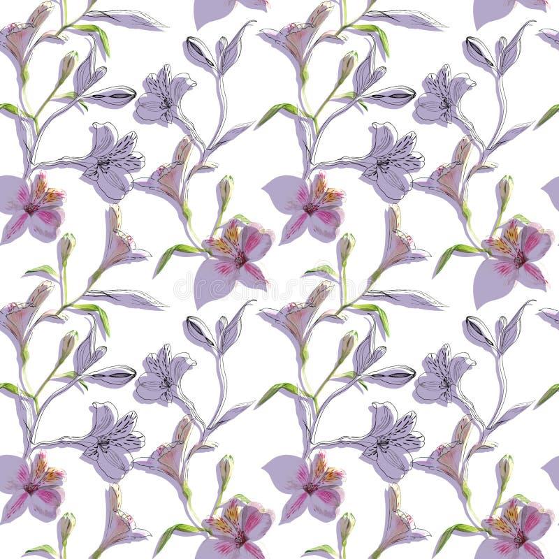 bezszwowy kwiecisty wzoru Wzór z akwareli i atramentu grafika kwitnie na białym tle z purpurowymi cieniami ilustracji