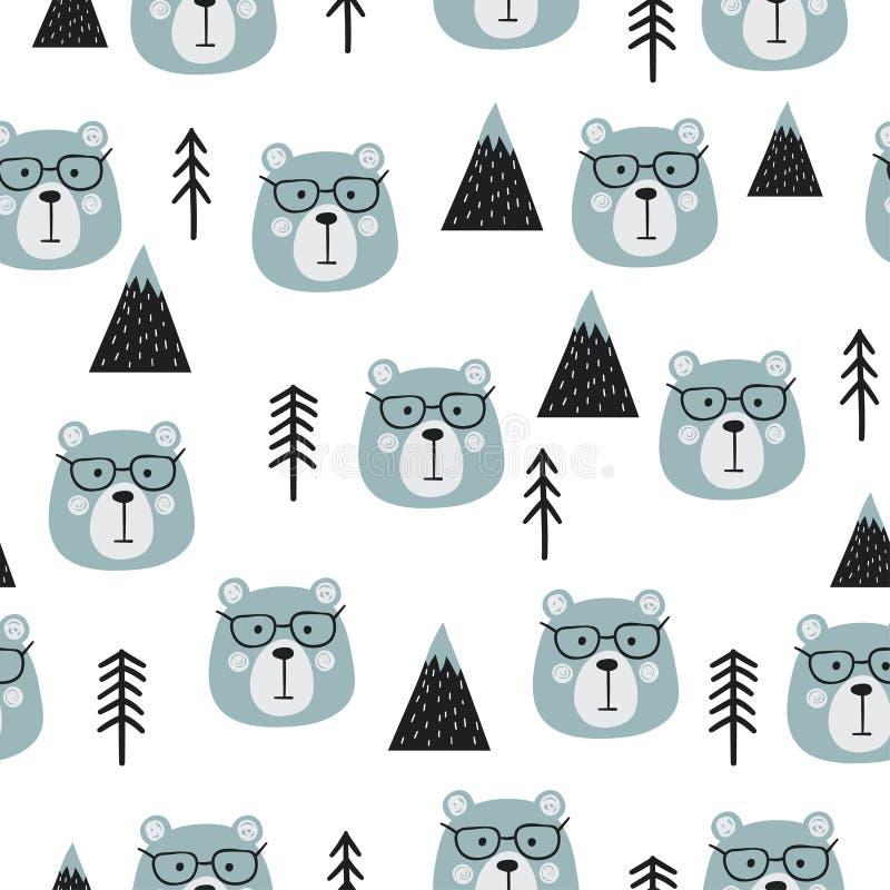 Bezszwowy lasowy wektoru wzór z ślicznymi niedźwiedziami i drzewami ilustracja wektor