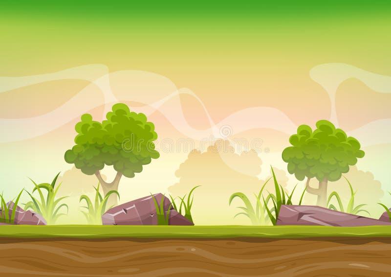 Bezszwowy lasu krajobraz Dla Ui gry ilustracja wektor