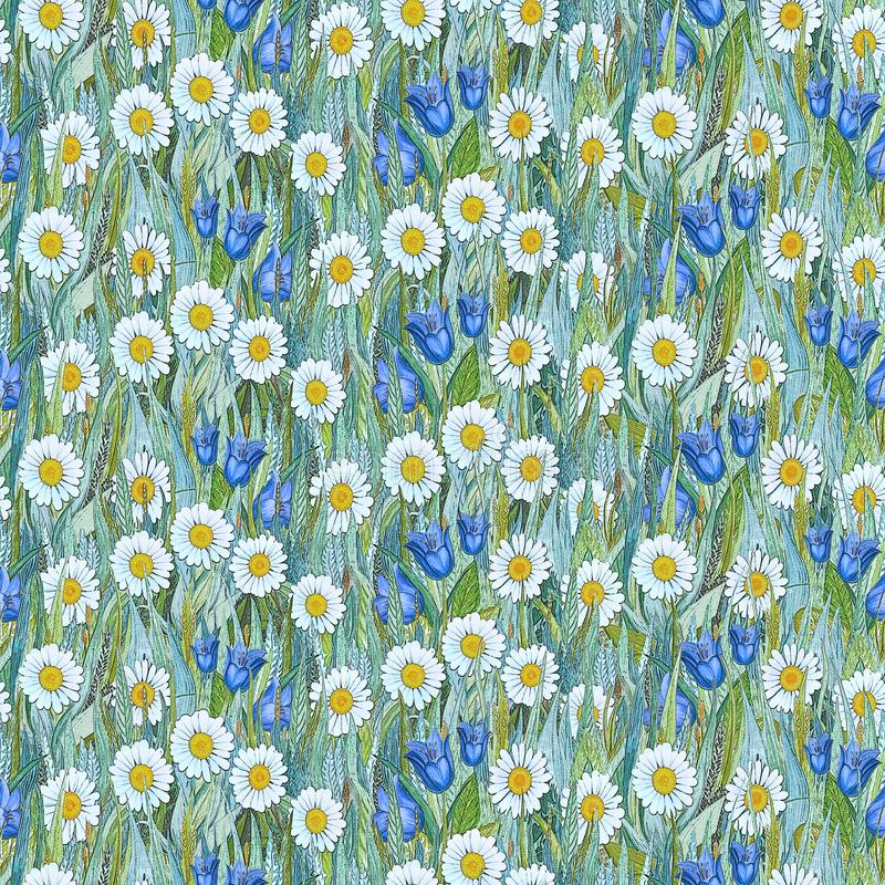 Bezszwowy lato wzór chamomiles, bluebells na trawie zdjęcie stock