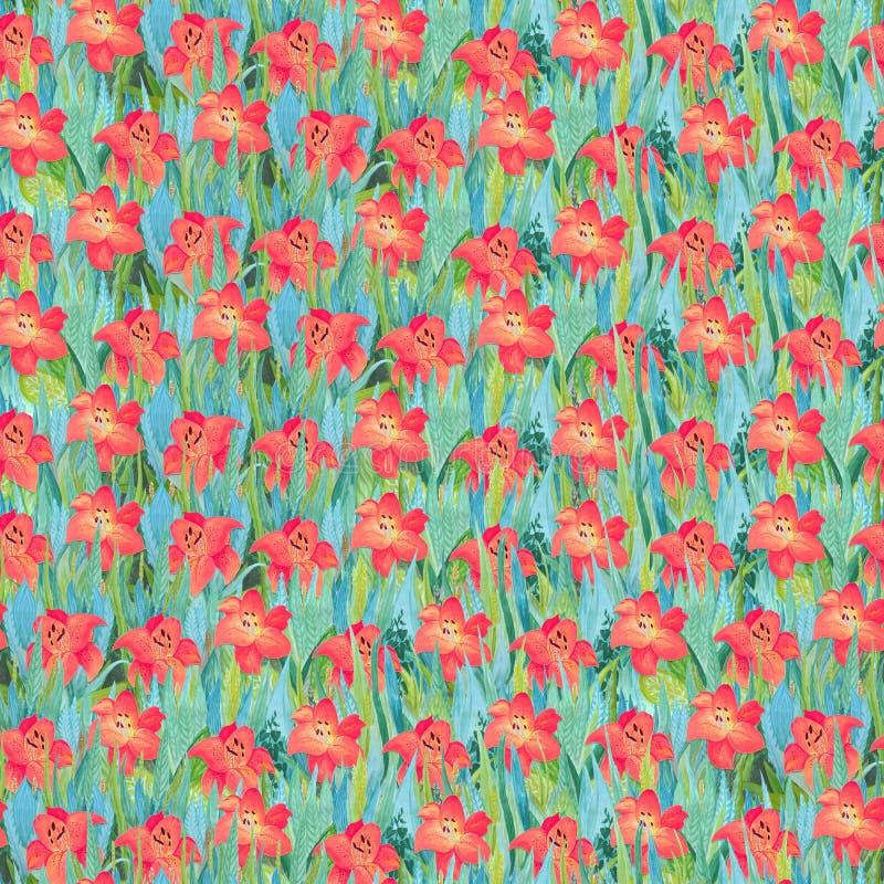 Bezszwowy lato wzór czerwone leluje na trawie Kolorowy tło w postaci kwiat halizny ilustracja wektor
