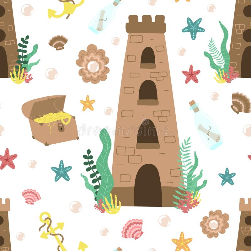 Bezszwowy lato wzór podwodny morze kasztel, klatka piersiowa, butelka, kotwica, perła, algi Wektorowa pociągany ręcznie morska il ilustracja wektor