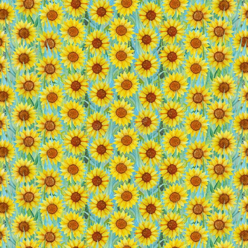 Bezszwowy lato wzór słoneczniki na trawie Kolorowy tło w postaci kwiat halizny royalty ilustracja