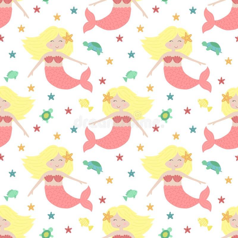 Bezszwowy lato wzór z ślicznymi blondynek syrenkami z różowym ogonem Wektorowa denna ilustracja dla dziecka, wakacje, tło, druk, royalty ilustracja