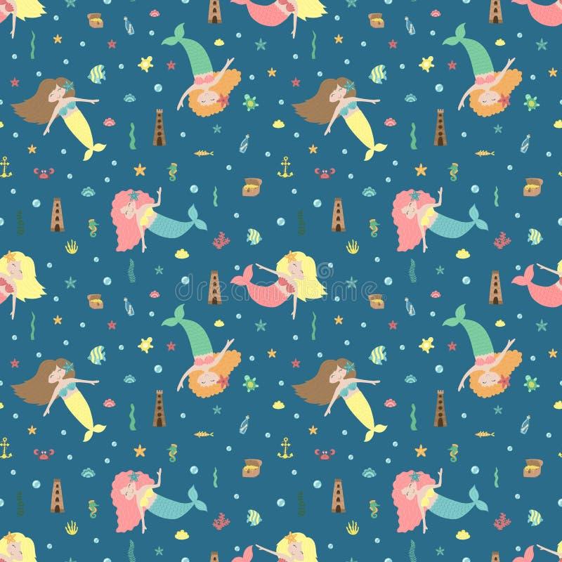 Bezszwowy lato wzór z ślicznymi syrenkami, kasztelem, klatką piersiową i dennymi zwierzętami, Wektorowa morska ilustracja dla dzi ilustracji