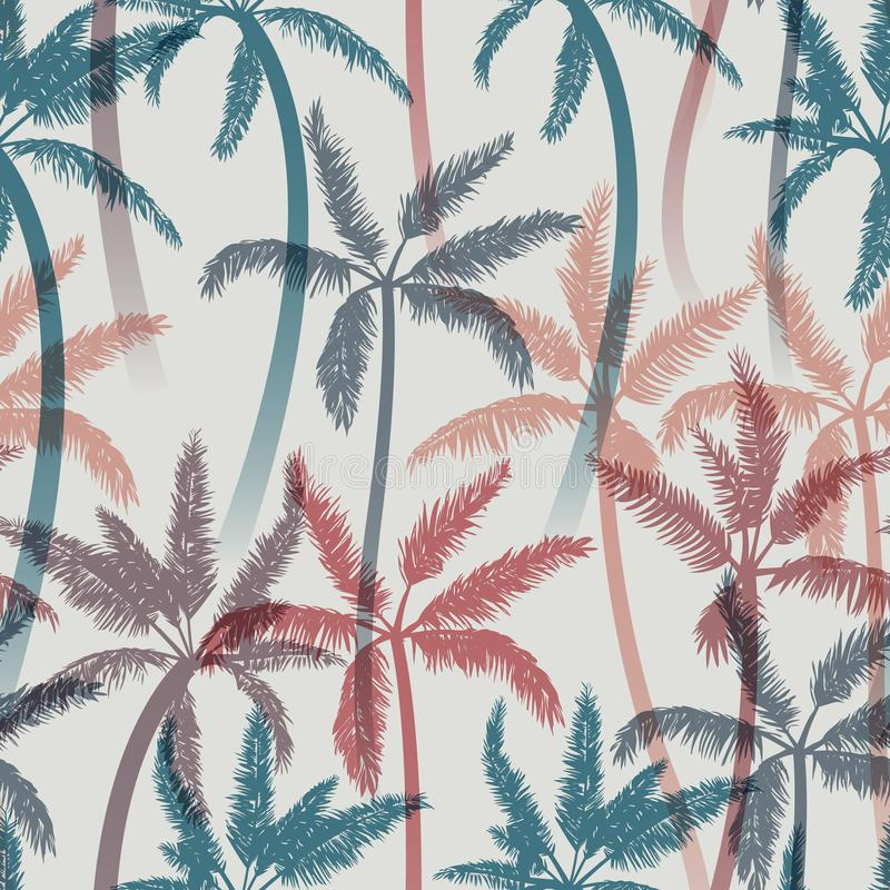 Bezszwowy lato wzór z palmami również zwrócić corel ilustracji wektora royalty ilustracja
