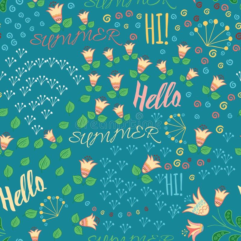 Bezszwowy lato wzór z ręka rysującą łąką kwitnie, liść i słowa Cześć, Cześć, Summeron błękitny tło Ręki literowania bolączka ilustracja wektor