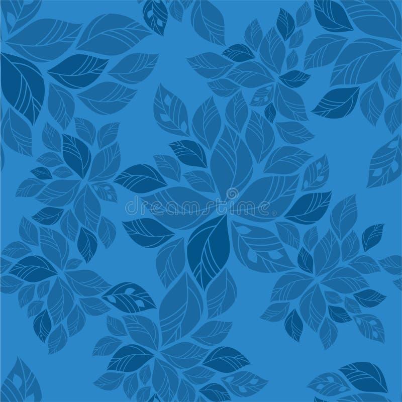 bezszwowy liść błękitny wzór ilustracja wektor