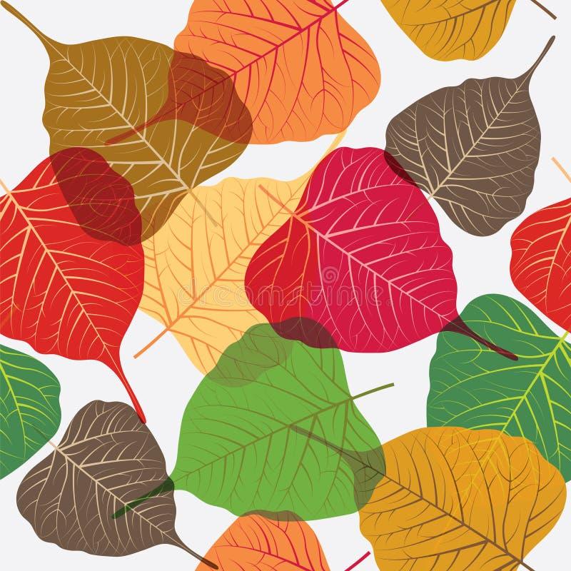 Bezszwowy liścia tło, kolorowi projektów elementy odizolowywający na białym tle ilustracja wektor