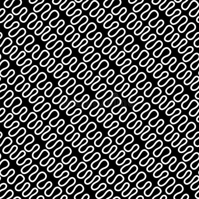 Bezszwowy liniowy wzór z cienkimi eleganckimi wyginać się białymi liniami na czarnym tle struktura abstrakcyjna geometryczny tło royalty ilustracja