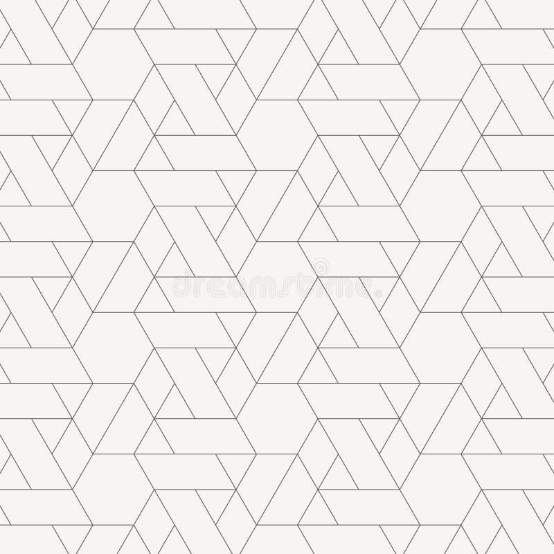 Bezszwowy liniowy wz?r z skrzy?owaniem cienkich poli- linii, wieloboki abstrakcjonistyczna geometryczna tekstura Elegancki tło w  ilustracja wektor