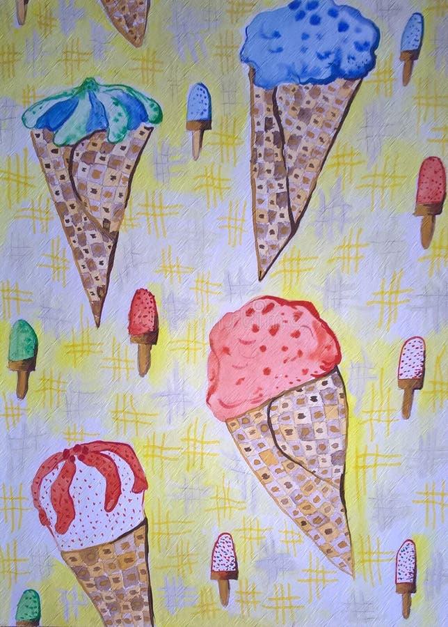 bezszwowy lodu kremowy wzór Handmade rysujący ilustracji