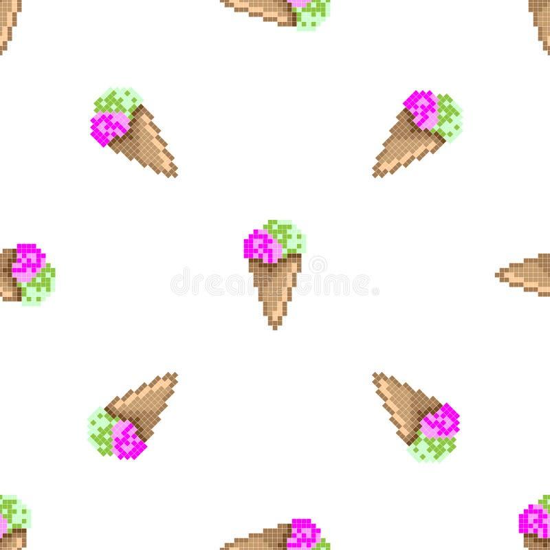 bezszwowy lodu kremowy wz?r sztuki ilustracji cyfrowego szcz??liwe rodziny wzoru piksla bezszwowy wektora Starej szko?y komputero ilustracja wektor
