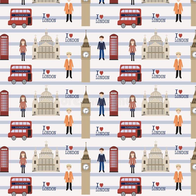 Bezszwowy Londyn wzór ilustracja wektor