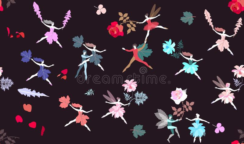 Bezszwowy magia wzór z śmiesznymi czarodziejkami, elfy, liście i kwiaty, również zwrócić corel ilustracji wektora Druk dla tkanin royalty ilustracja