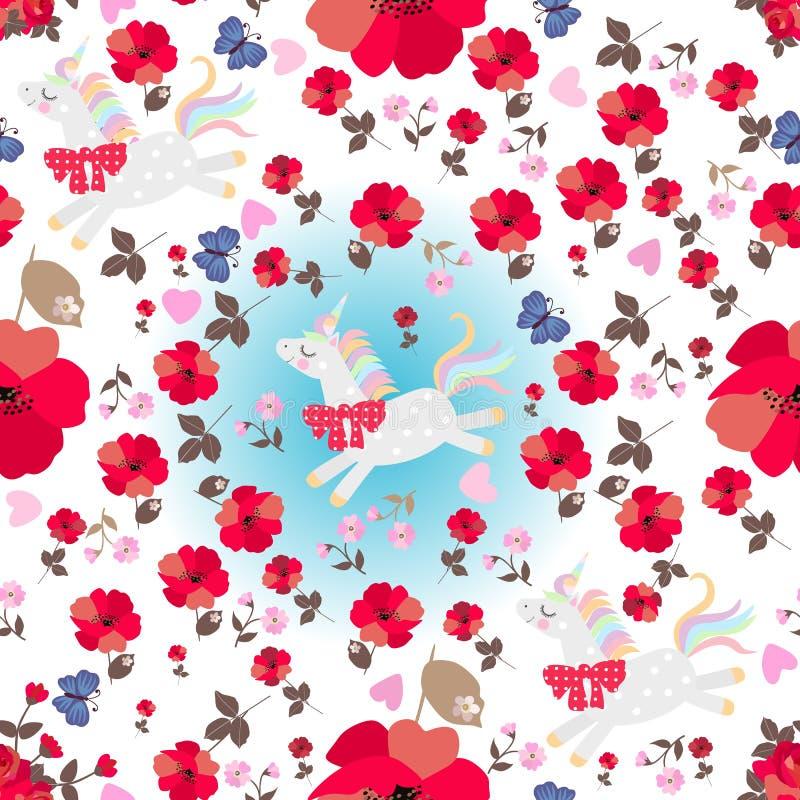 Bezszwowy magia wzór z śmiesznymi jednorożec, czerwonymi maczków kwiatami, błękitnymi motylami i różowymi sercami na białym tle, ilustracja wektor