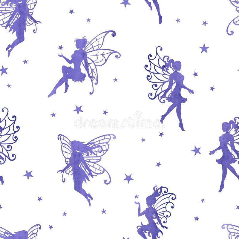 Bezszwowy magiczny wzór z akwareli purpurowymi czarodziejkami gwiazdami i royalty ilustracja