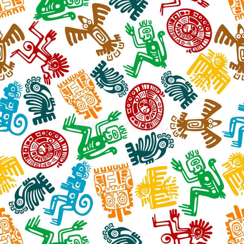 Bezszwowy majski i aztec wzór zwierzęcy totemy royalty ilustracja