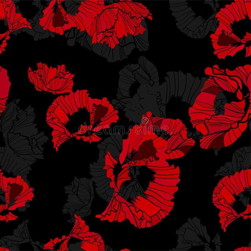 Bezszwowy makowy czerwony czarny tła tło elegancki ilustracji