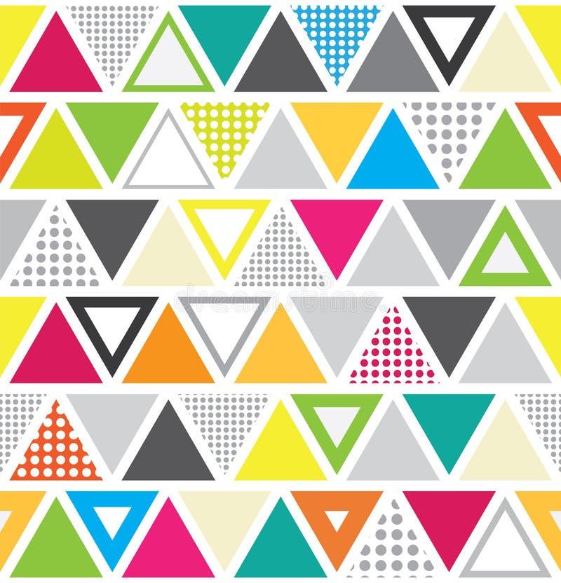 Bezszwowy Memphis stylu wzór z kolorowymi trójbokami i kropkami ilustracja wektor