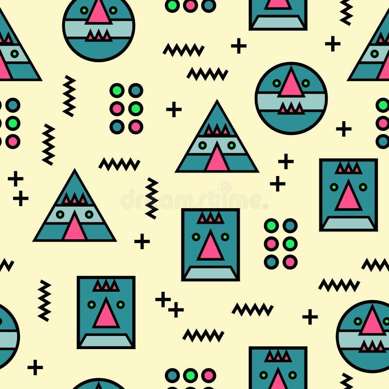 Bezszwowy Memphis twarzy wzoru geometryczny abstrakcjonistyczny dziwny tło royalty ilustracja