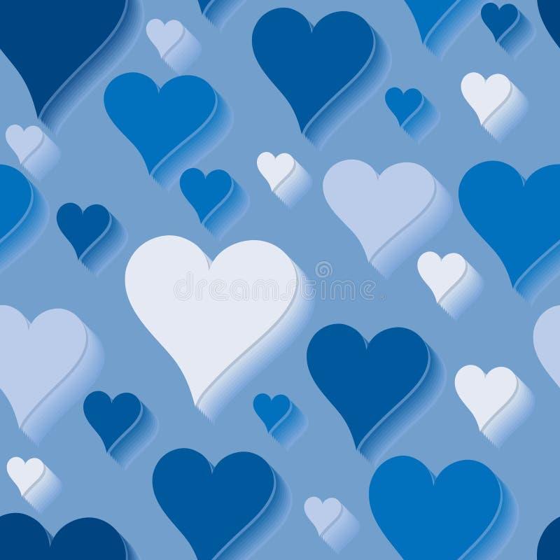 bezszwowy miłość błękitny wzór ilustracji