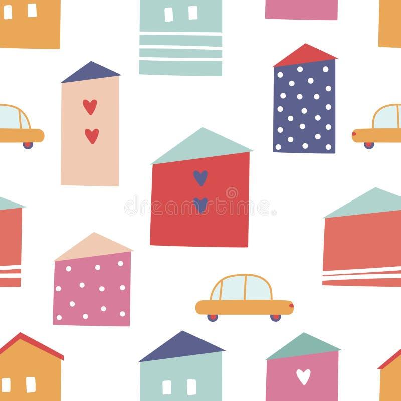 Bezszwowy miasto wzór z żółtymi samochodami i domami zdjęcia stock