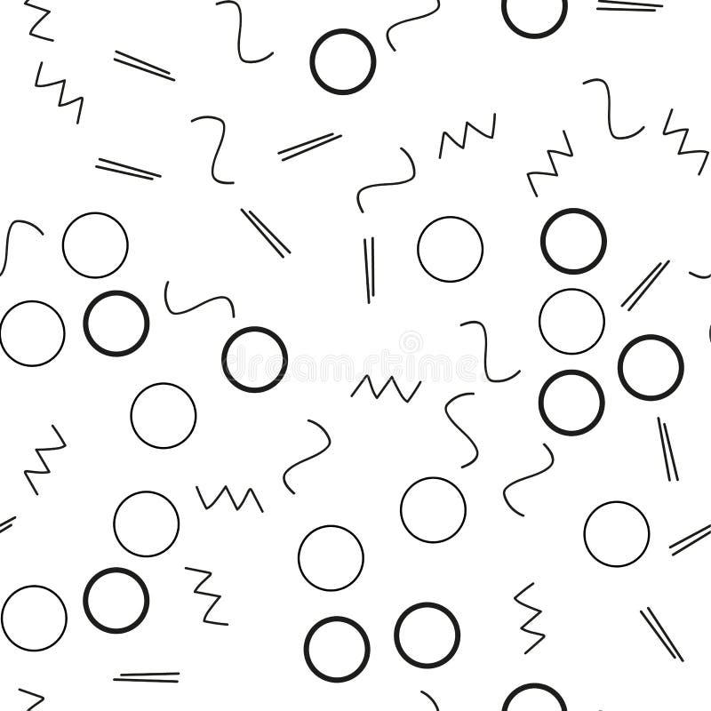 Bezszwowy minimalisty wzór Geometryczny tło z kształtami, linie Czarny i biały kolor Retro styl 80s-90s ilustracji