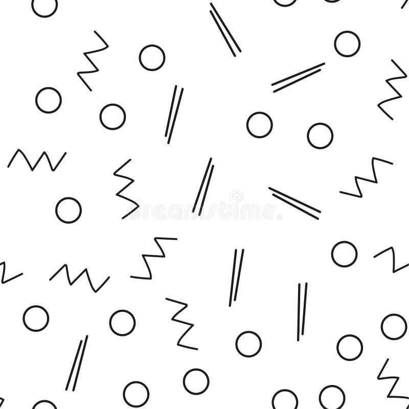 Bezszwowy minimalisty wzór Geometryczny tło z kształtami, linie Czarny i biały kolor Retro styl 80s-90s royalty ilustracja