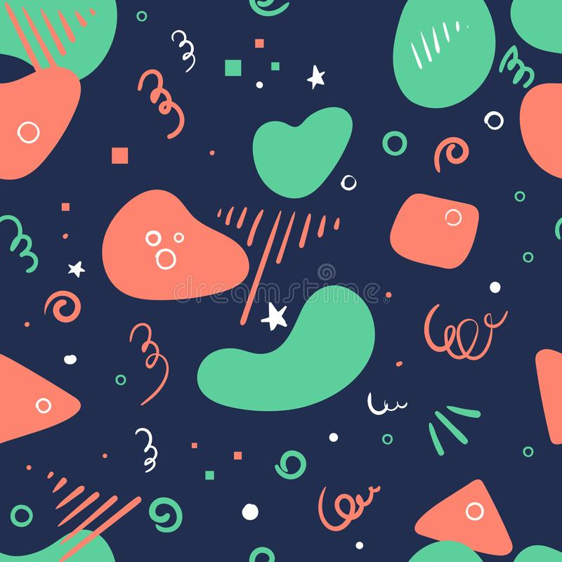Bezszwowy modnego, świątecznego tła geometryczny doodle, kształtuje Abstrakcjonistyczna tekstura z literowaniem CIESZY SIĘ dzień  ilustracja wektor