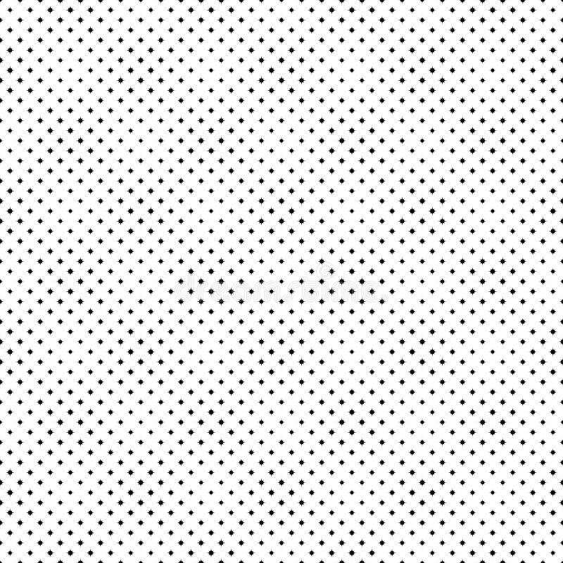 Bezszwowy monochromatyczny geometrical wyginający się gwiazdowego wzoru tło ilustracji