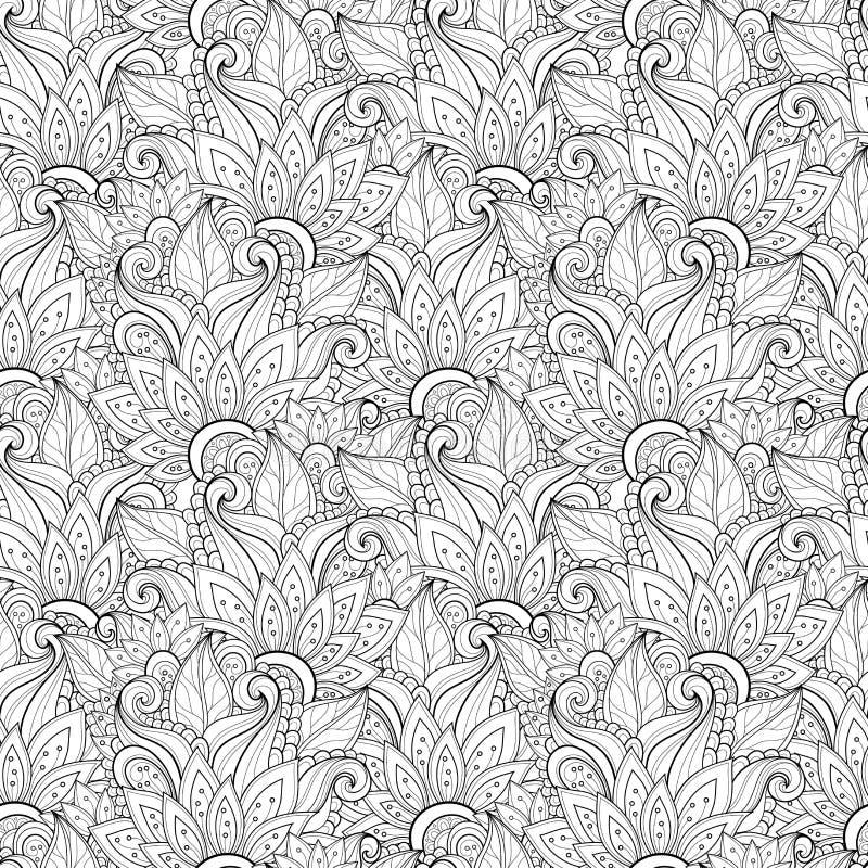 Bezszwowy Monochromatyczny Kwiecisty wzór (wektor) royalty ilustracja
