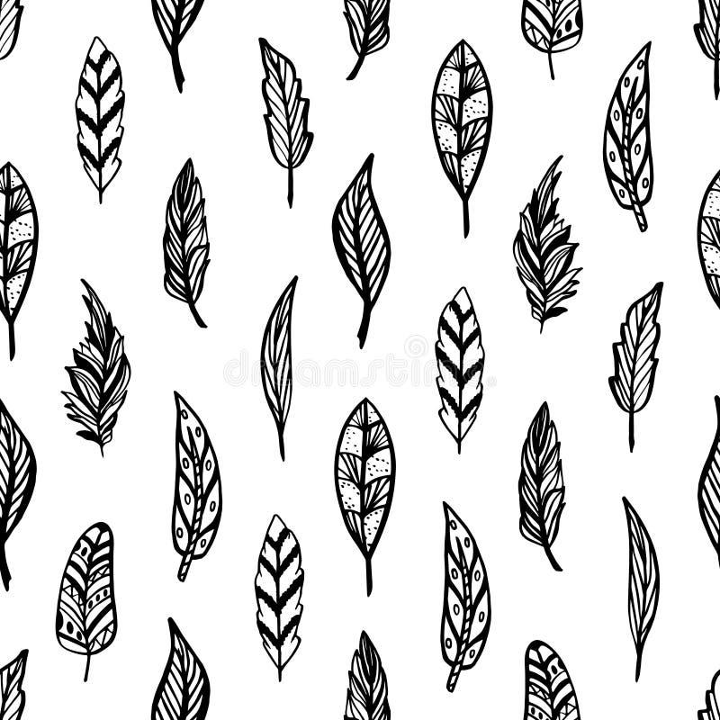 Bezszwowy monochromu wzór feathers-03 royalty ilustracja