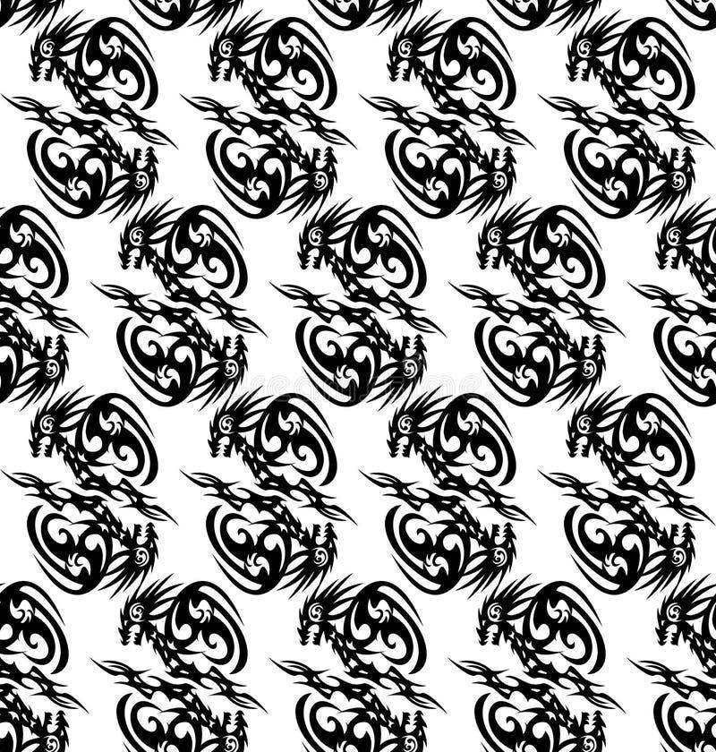 Bezszwowy monochromu wzór z stylizowanymi smokami ilustracja wektor