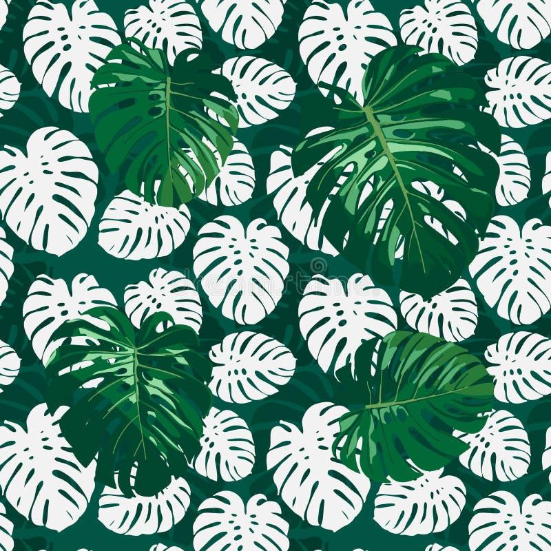 Bezszwowy monstera palmy liści wzór dla twój lato projekta royalty ilustracja