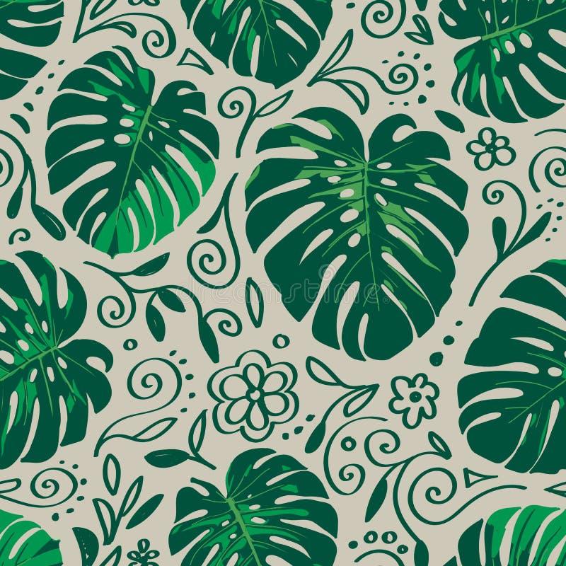 Bezszwowy monstera palmy liści wzór z doodle kreskowymi elementami ilustracji
