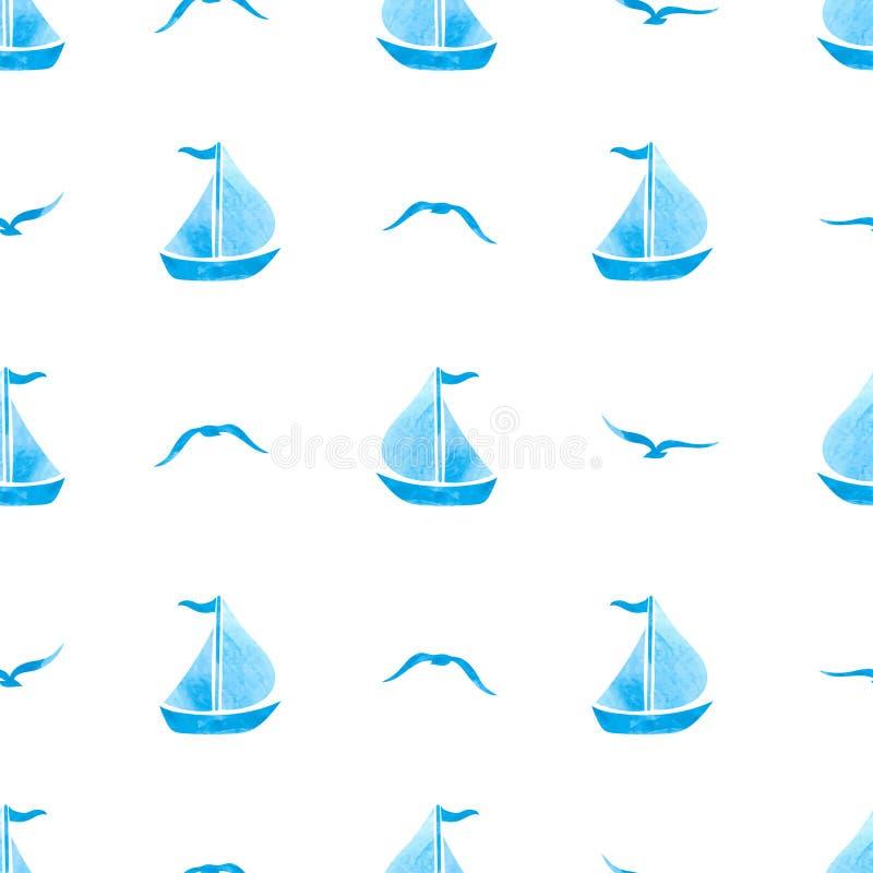 Bezszwowy morze wzór z żeglowanie statkami i seagulls na bielu ilustracji