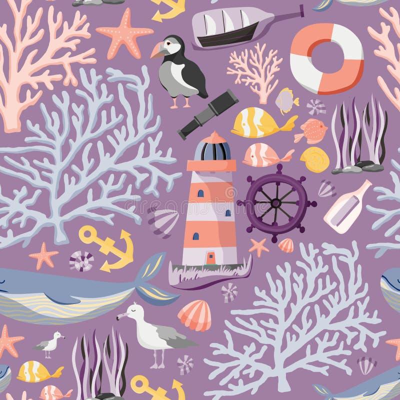 Bezszwowy morze wzór z ryba, kotwicą, koralami, latarnią morską, wielorybem, atlantyckim maskonurem etc, tła latający oceanu seag ilustracji