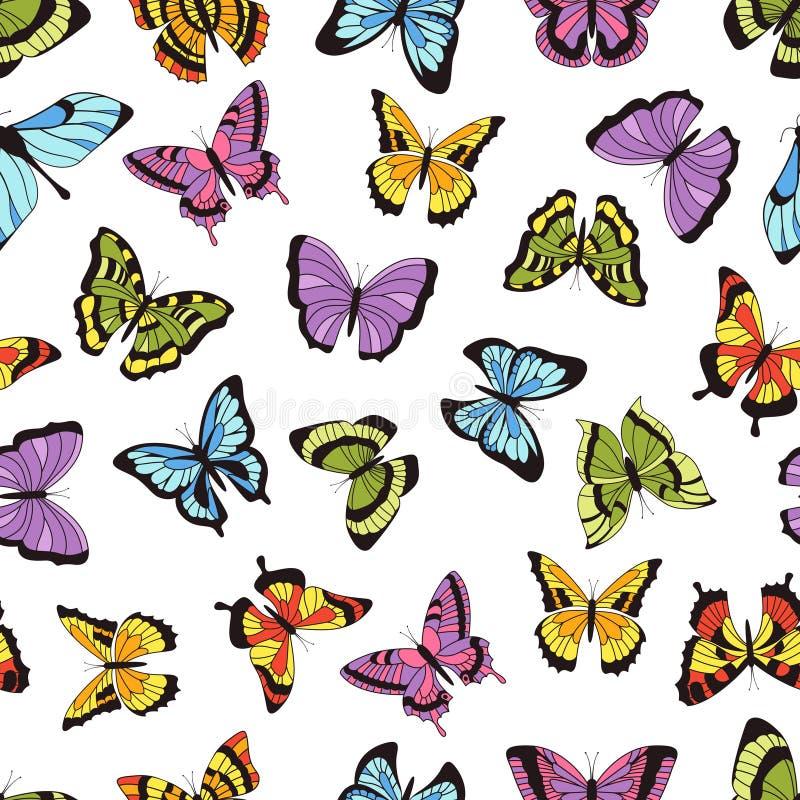 bezszwowy motyli wzór Kwiecisty ogrodowy druk, bezszwowy graficzny tło z motylami i kwiaty, Wektorowa ręka royalty ilustracja
